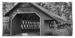 Misty Afternoon At The Creamery Covered Bridge Black And White Hand Towel