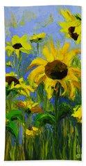 Misty Morning - Sunflower Field Oil Painting, Landscape Art Bath Towel