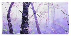 Misty Pink Trees Forest Hand Towel