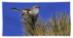 Mockingbird In White Pine Bath Towel