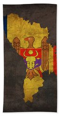 Moldova Country Flag Map Hand Towel