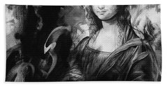 Mona Lisa Black Hand Towel