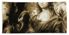 Mona Lisa Sepia Art Hand Towel
