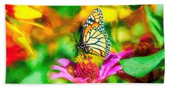 Monarch Butterfly Impasto Colorful Bath Towel