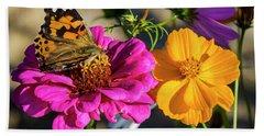 Monarch On Flower Bath Towel