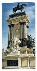 Monument To King Alfonso Xii At Retiro Park In Madrid, Spain Hand Towel