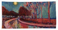 Moon Night At The Canal Hand Towel