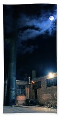 Moon Over Industrial Chicago Alley Hand Towel