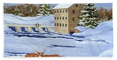 Moonlight Millpond Whitetails Bath Towel