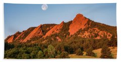 Moonset Over The Flatirons Bath Towel