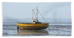 Morecambe. Yellow Fishing Boat. Hand Towel