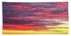 Morning Fire Over Whaleback Light Bath Towel
