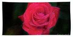 Morning Mist On Red Rose Bath Towel