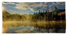 Morning Mist, Wildlife Pond  Bath Towel