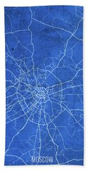 Moscow Russia City Street Map Blueprints Hand Towel