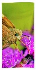 Moth On Purple Flower Bath Towel