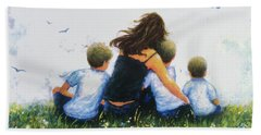 Mother And Three Sons Hugging Blonde Boys Hand Towel
