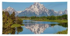 Mount Moran On Snake River Landscape Hand Towel