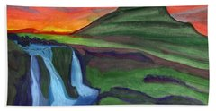 Mountain And Waterfall In The Rays Of The Setting Sun Bath Towel