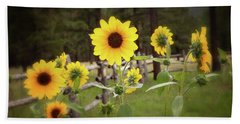 Mountain Sunflowers Bath Towel