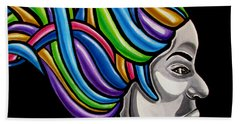 Colorful Abstract Black Woman Face Hair Painting Artwork - African Goddess Bath Towel