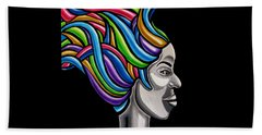 Colorful 3d Abstract Painting, Black Woman, Colorful Hair Art Artwork - African Goddess Hand Towel