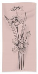 Narcissus Blush Pink Flower Bath Towel