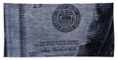 Navy Blue Denim And Money Hand Towel