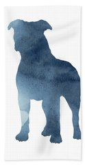 Navy Blue Pitbull Silhouette Standing Facing Left  Hand Towel