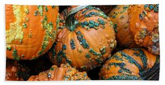 Bath Towel featuring the photograph Nestled - Autumn Pumpkins by Debi Dalio