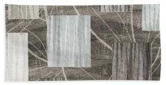 Neutral Leaf Print Squares Cream Hand Towel