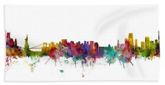 New York And Miami Skylines Mashup Bath Towel