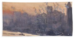 New York City Harbor And Skyline At Night Hand Towel