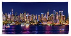 New York City Nyc Midtown Manhattan At Night Hand Towel