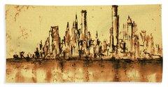 New York City Skyline 79 - Water Color Drawing Bath Towel
