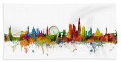 New York, London, Paris Skyline Mashup Hand Towel