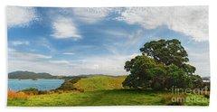 New Zealand Landscape And Pohutukawa Tree Hand Towel