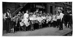 Newsboys Preparing To Work - Lewis Hine - 1908 Hand Towel