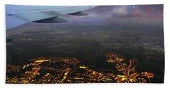 Night Flight Over City Lights Hand Towel