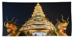Nine-storey Chinese Pagoda At Dusk Dragons At The Entrance To Wat Huay Pla Kang Temple Kuan Yin Hand Towel