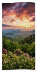 North Carolina Great Smoky Mountains Sunset Landscape Cherokee Nc Bath Towel