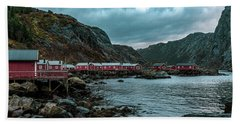 Norway Panoramic View Of Lofoten Islands In Norway With Sunset Scenic Hand Towel