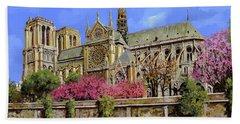 Notre Dame In Primavera Bath Towel
