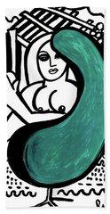 Nude Girl In Chair Original Art Signed Huge  Hand Towel
