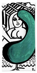 Nude Girl In Chair Original Art Signed Huge  Bath Towel