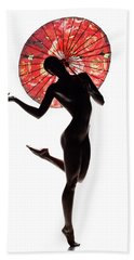 Nude Woman With Red Parasol Hand Towel