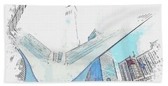 Oculus, New York, United States Watercolor By Ahmet Asar Hand Towel