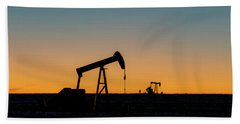 Hand Towel featuring the photograph Oil Pumps After Sunset 02 by Rob Graham