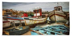 Old Fishing Boats Hand Towel
