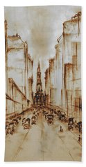 Old Philadelphia City Hall 1920 - Pencil Drawing Hand Towel